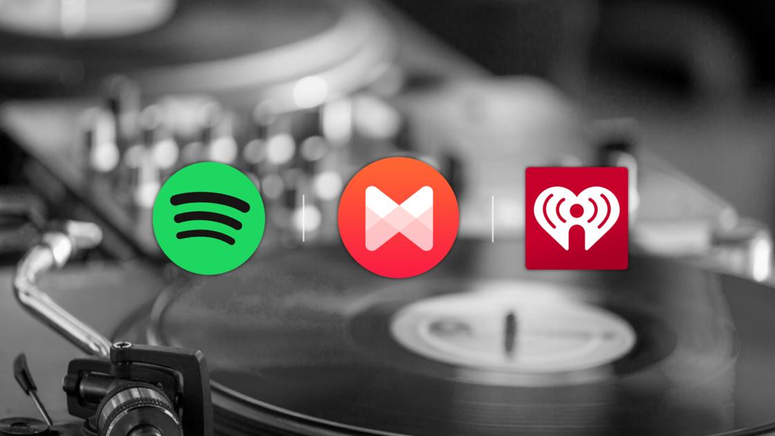 Spotify + iHeartRadio + MusiXmatch