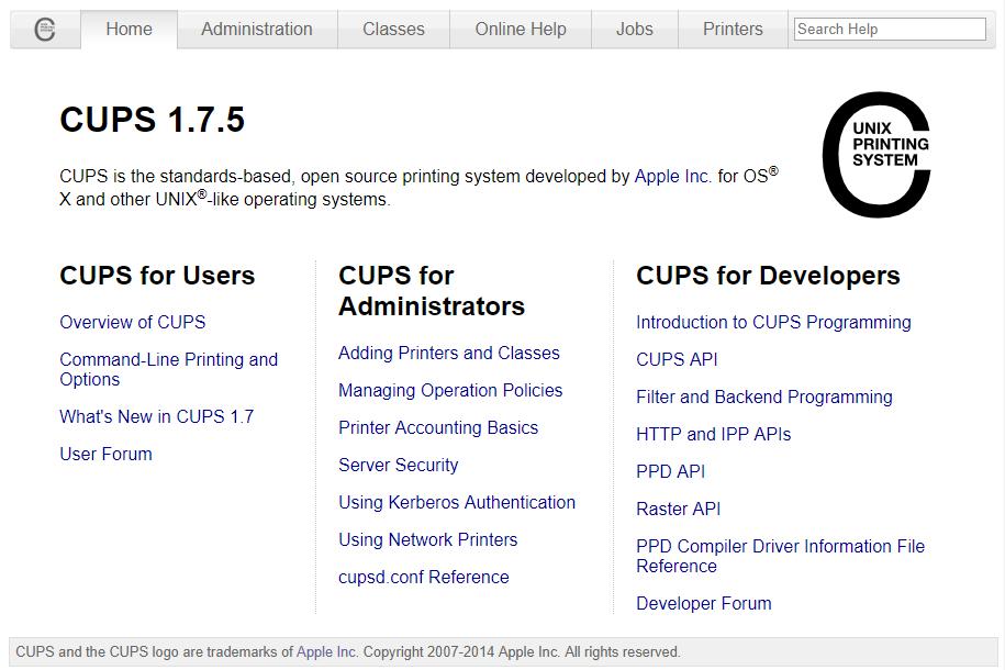基于网页的 CUPS 配置界面