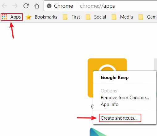 添加 Chrome App 至开始菜单
