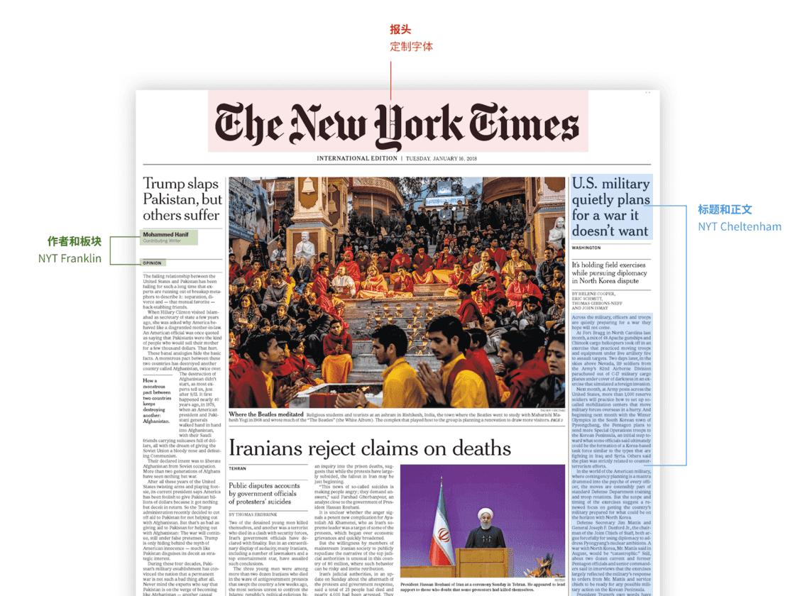 《纽约时报》使用三种主要字体在繁杂信息中保持了层次感