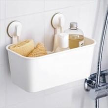 吸盘+吊篮进行浴室收纳