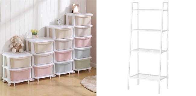 左:可以随意组合跌价的抽屉柜;右:置物架。两者的共同特点都是占地面积小、充分利用垂直空间
