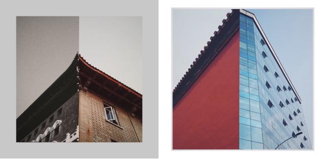 从故宫到广州:左均拍自故宫,右均拍自广州,后期拼接