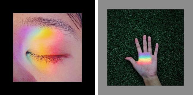 三棱镜折射的彩虹光