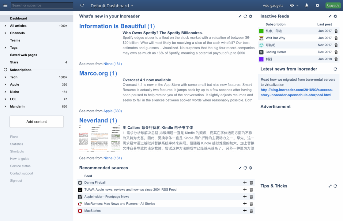 Inoreader 在 Dashboard 上提供的筛选和推荐功能