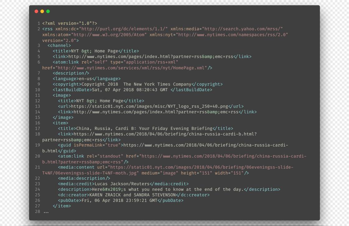 一个典型 RSS XML 文件的结构