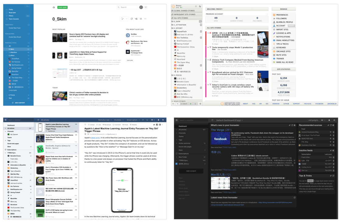 Feedly、NewsBlur 和 Inoreader(正常/黑暗模式)的主界面