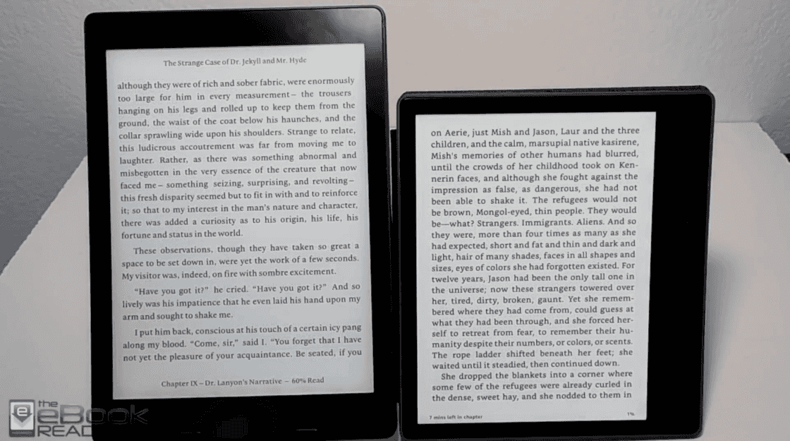 Aura ONE 与 Kindle Oasis (2018) (来源:The eBook Reader)