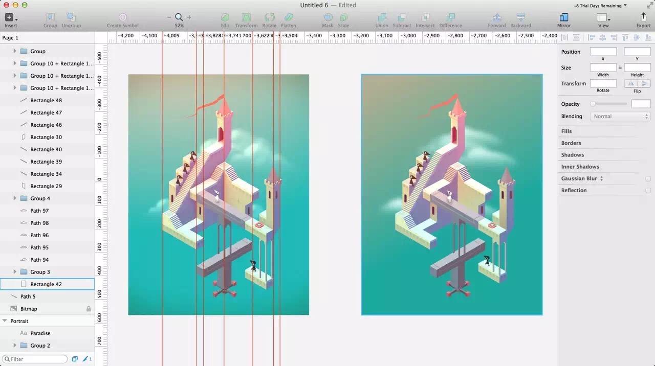 《纪念碑谷》风格的插画,你也可以轻松画:Sketch 扩展 Isometric