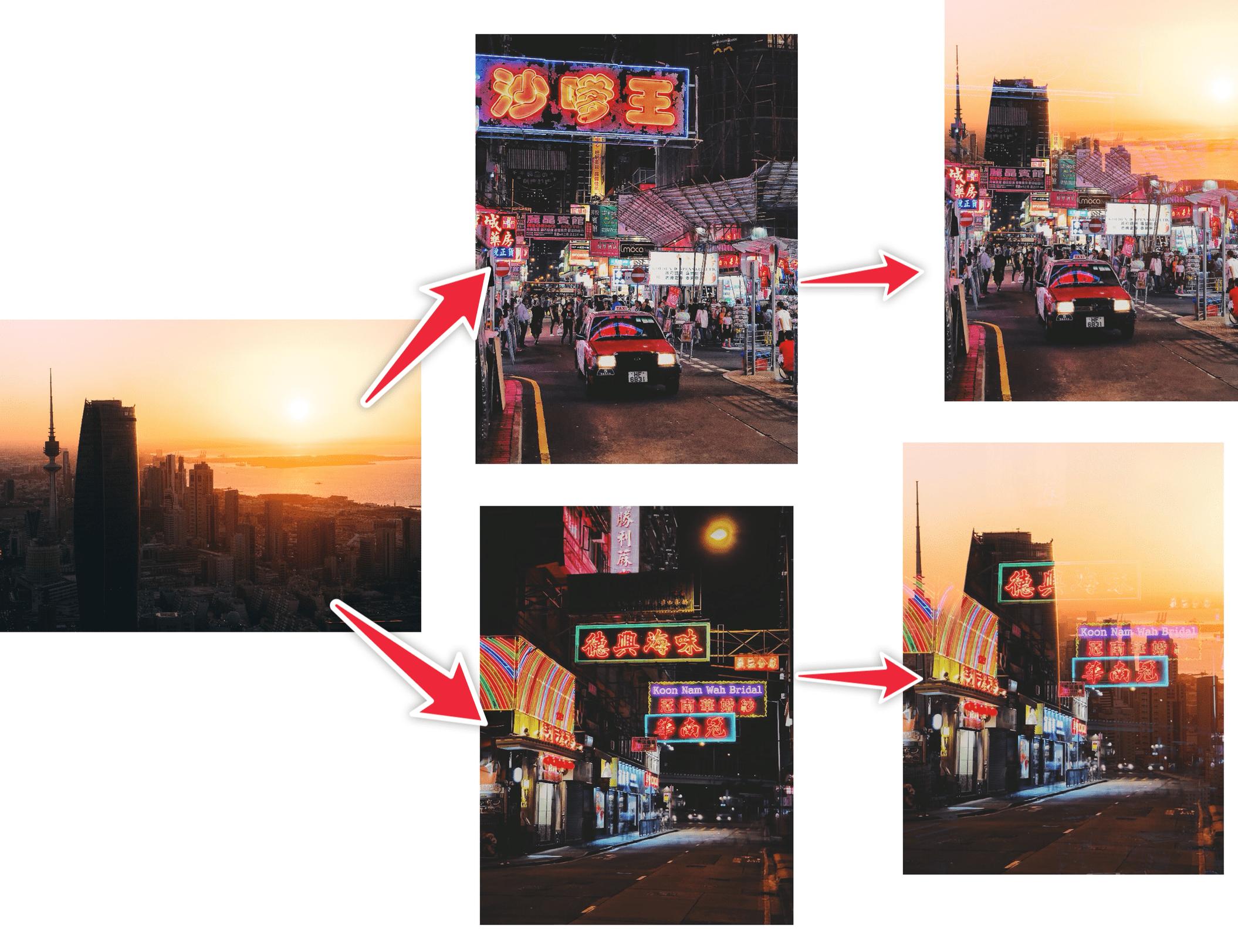 光暗对比强烈的照片双重曝光后效果较好