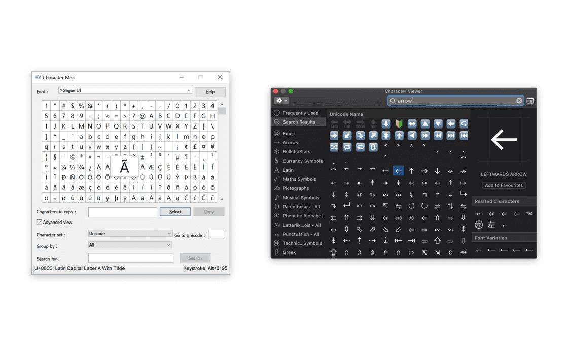 Windows 和 macOS 的字符输入面板