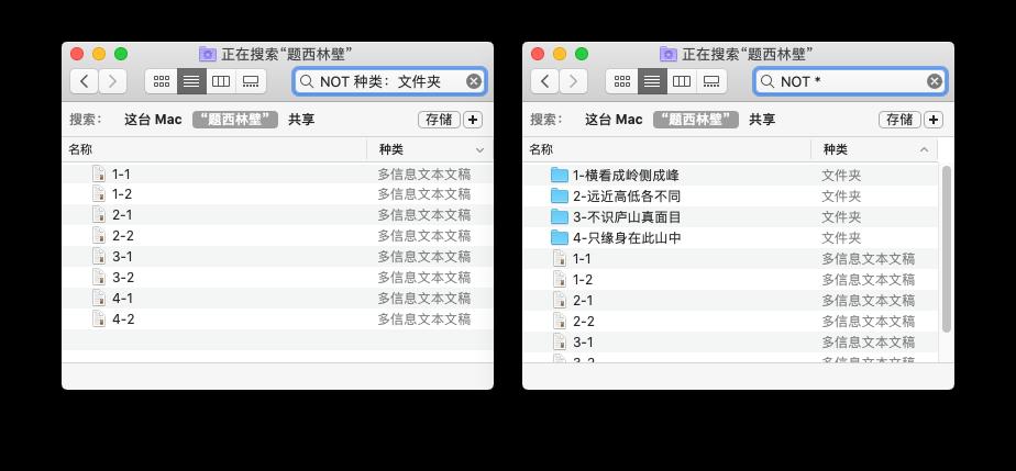 macOS 搜索指令效果演示