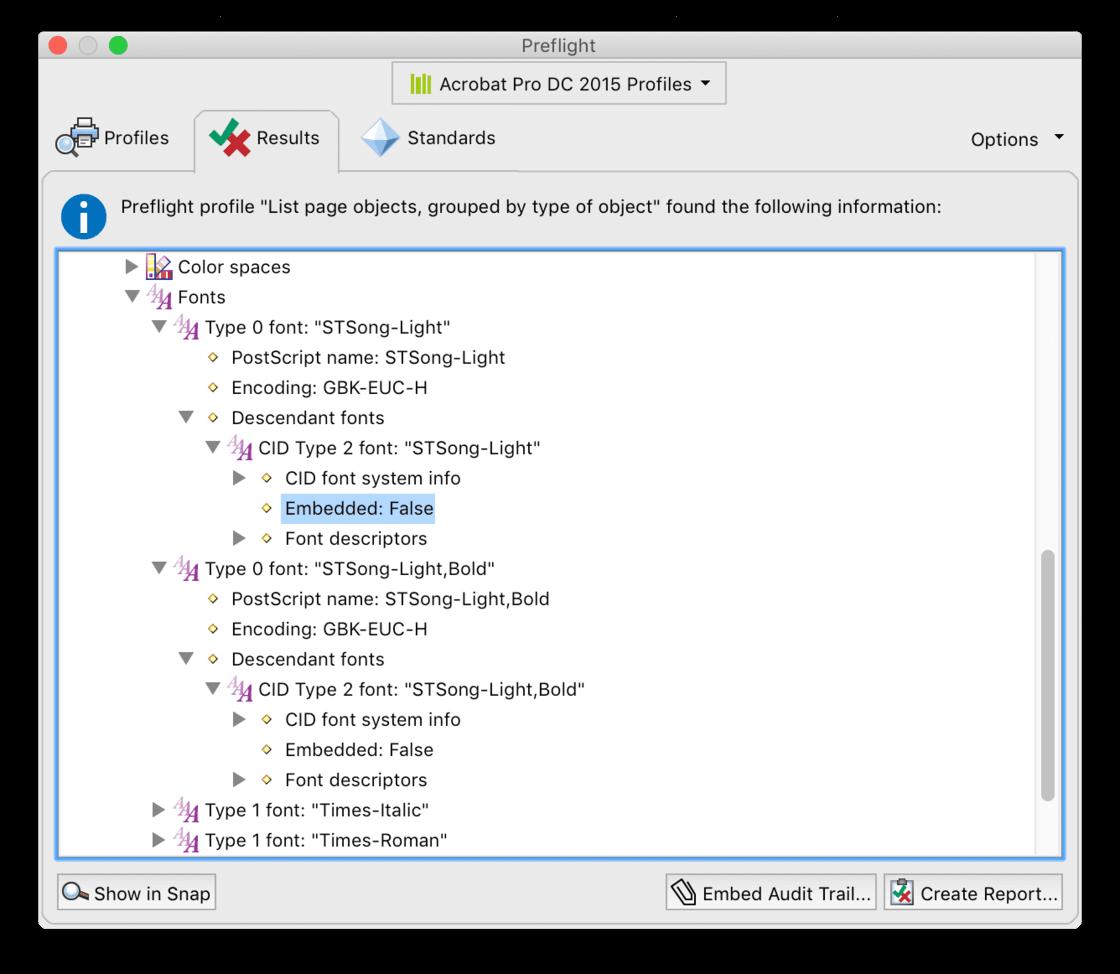 检查发现问题 PDF 没有嵌入应有的中文字体