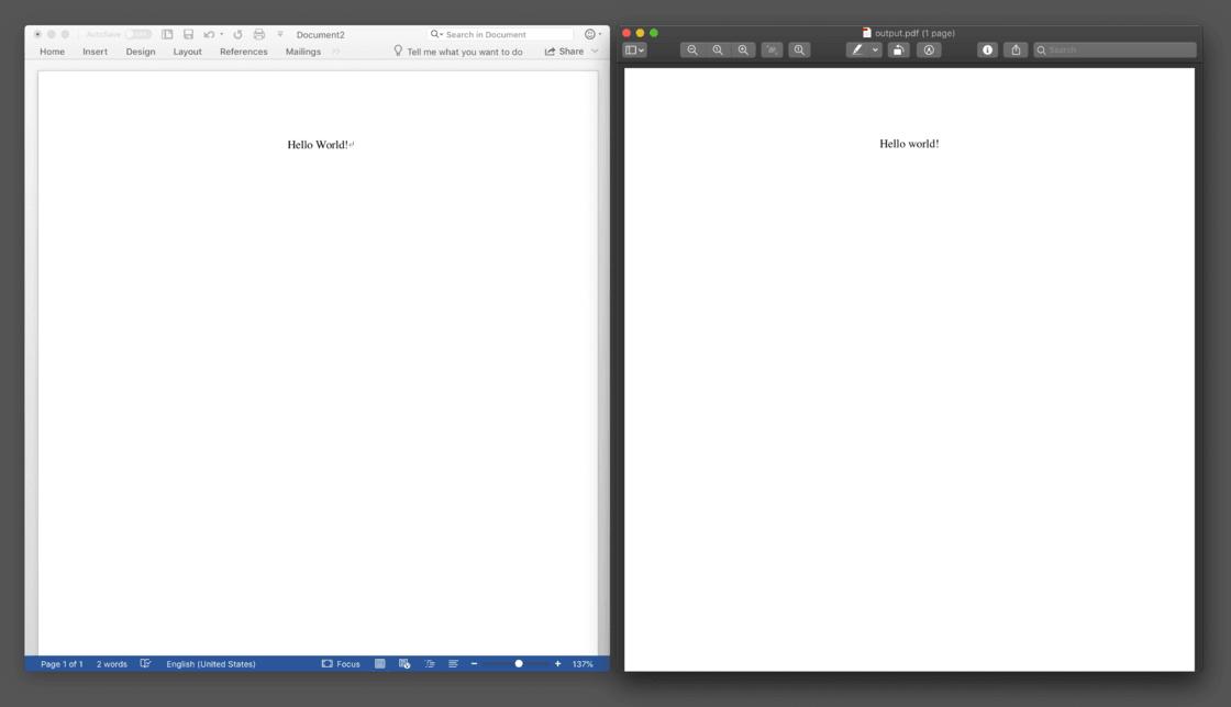 一对内容相同的 Word 文档和 PDF 文档