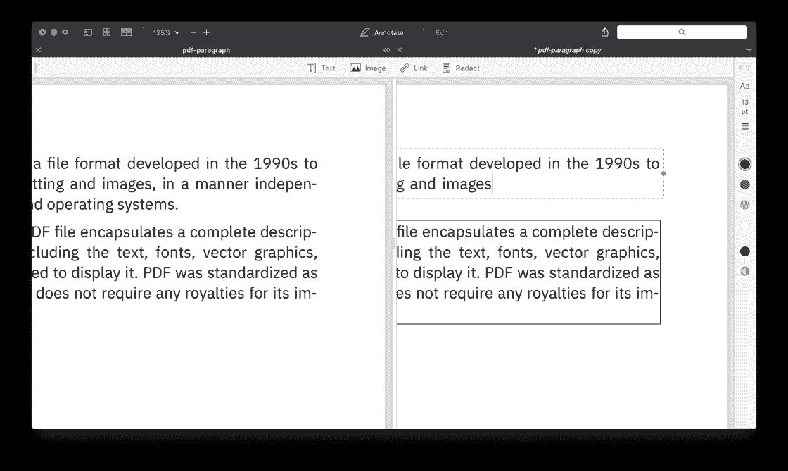 用 PDF Expert 删除一段文字,后面的段落无法自动补齐空隙