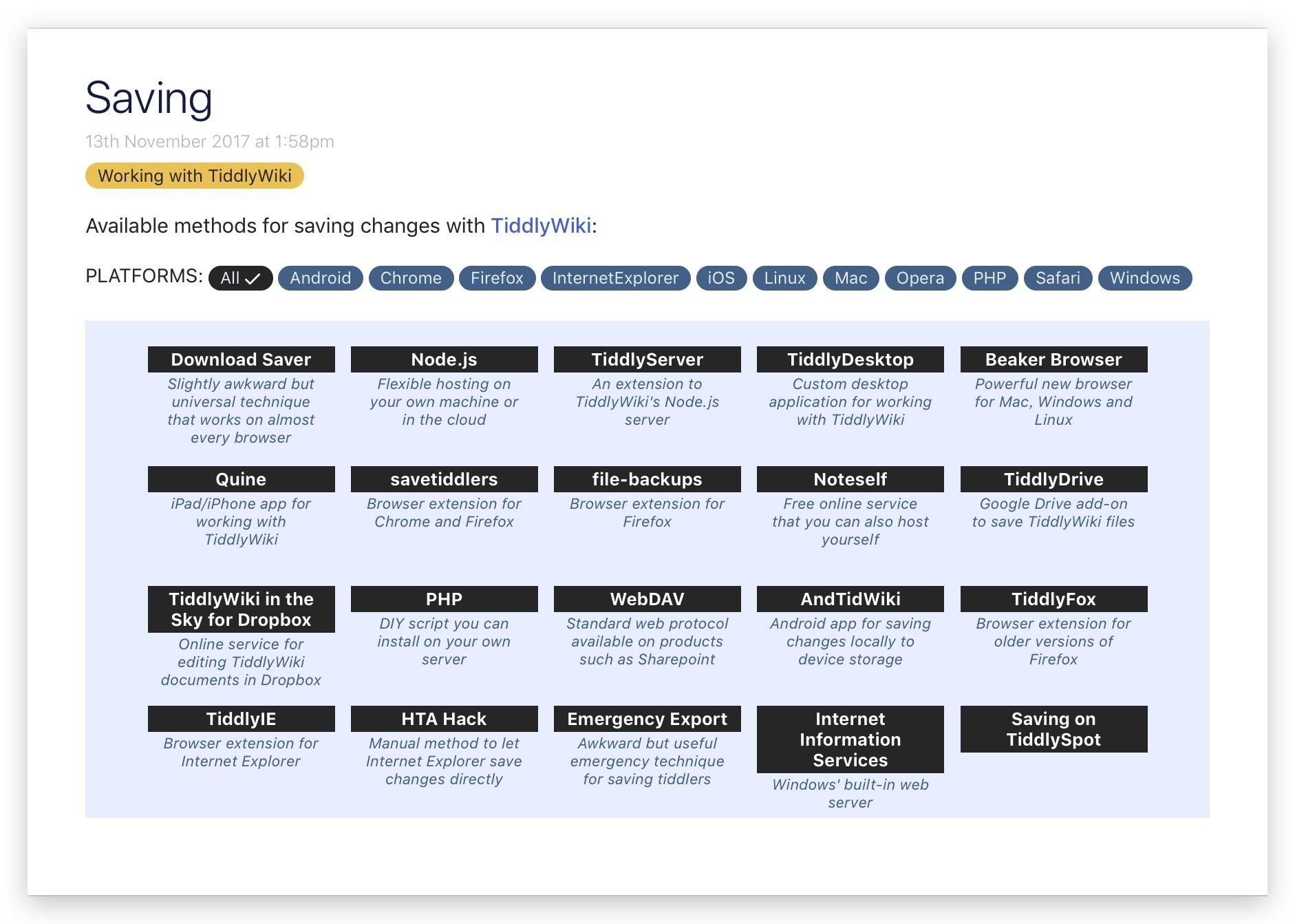Tiddlywiki 保存方式