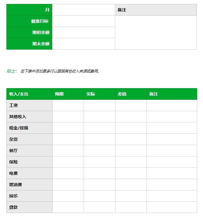 财务记录模板 (by Evernote 官网)
