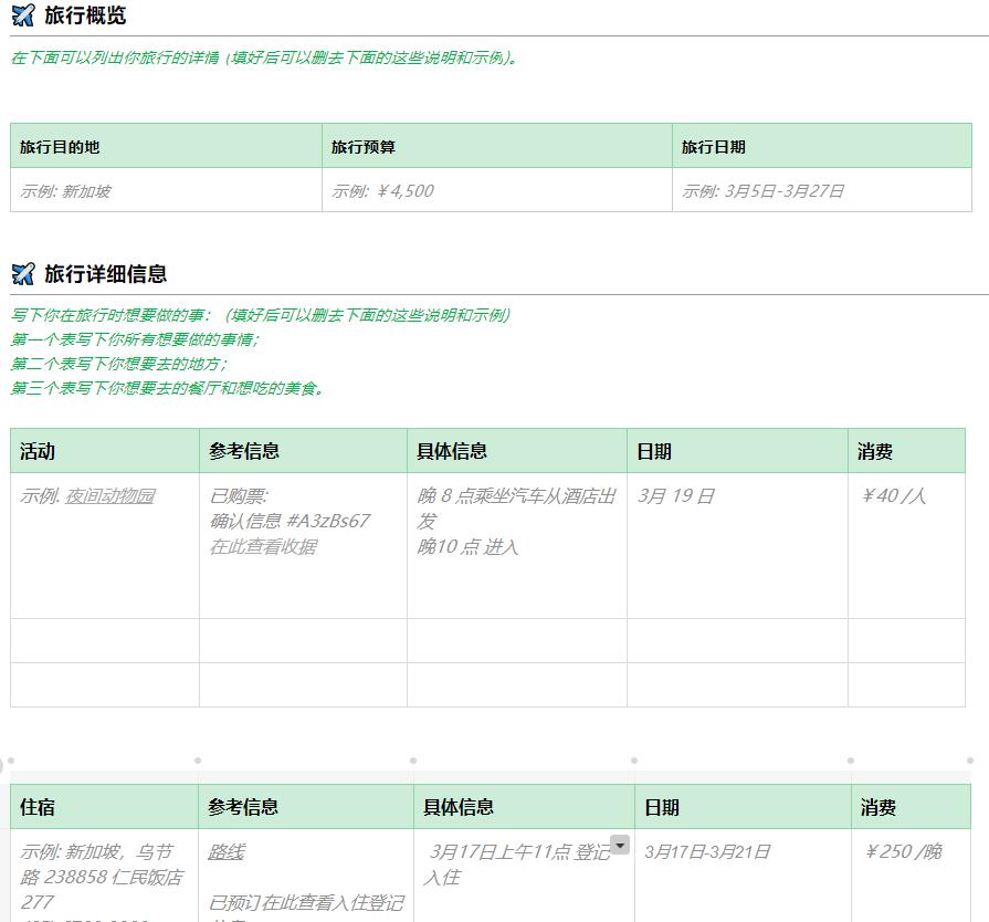 详细版旅行规划 1(by 印象笔记内测版)