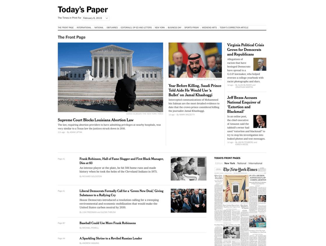 《纽约时报》的「今日报纸」页面
