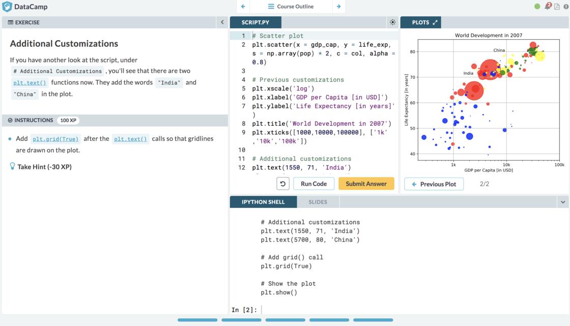 DataCamp 學習界面