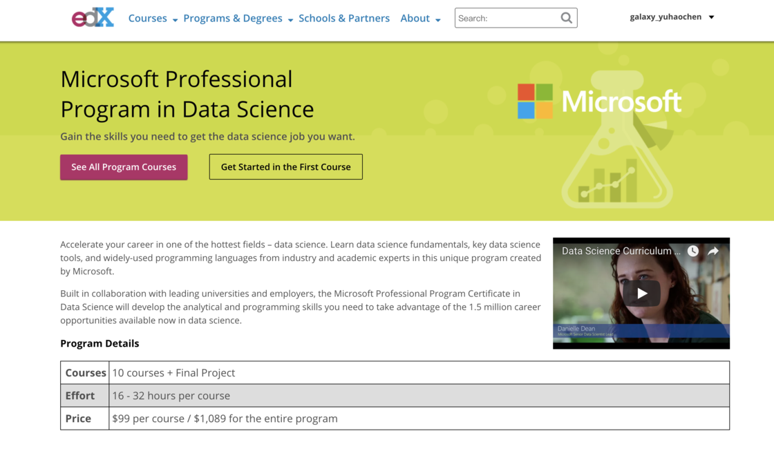 Microsoft Data Science Program