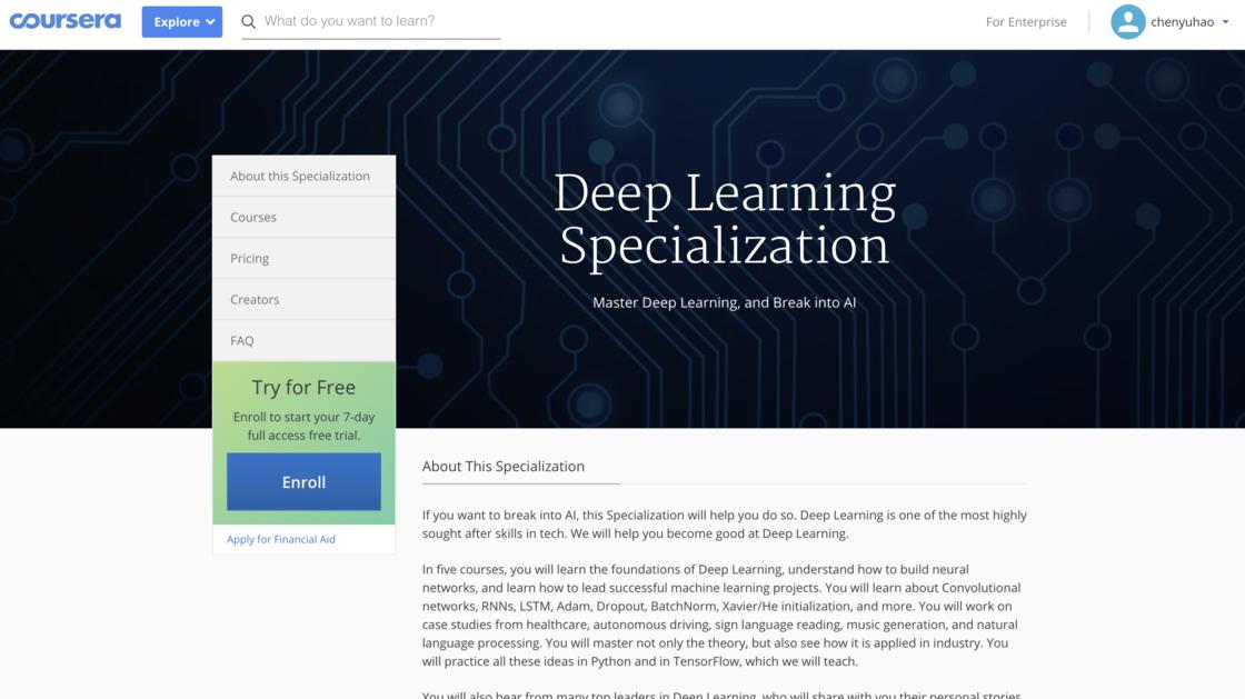 在Coursera上的深度學習課程
