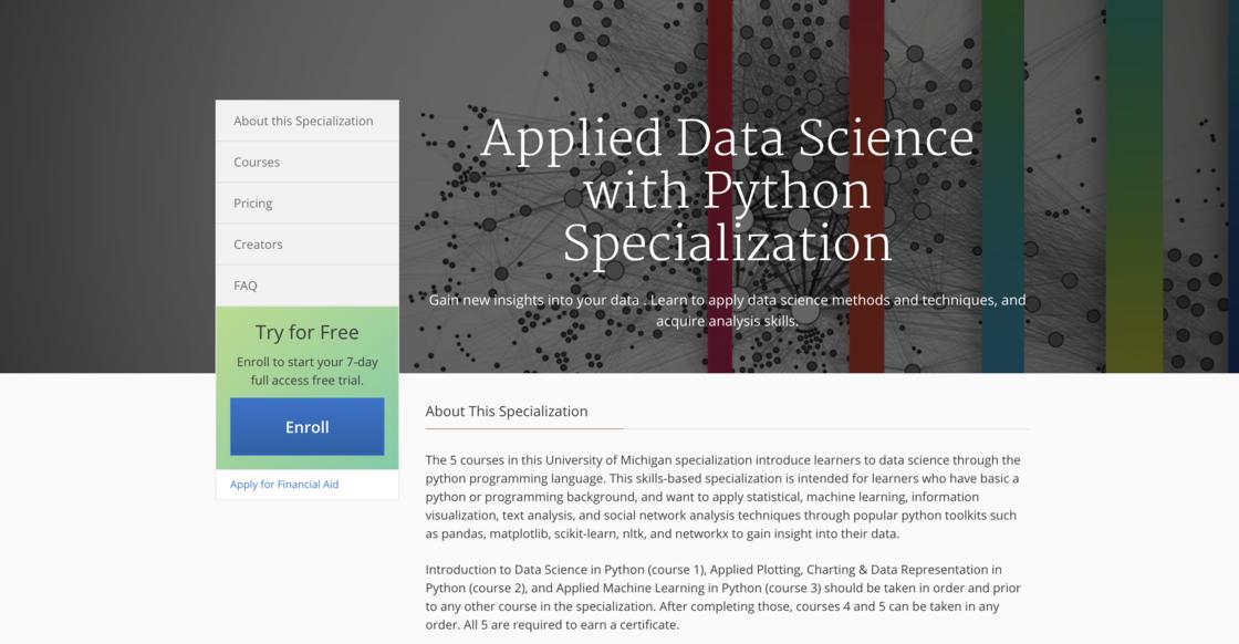 密歇根大學的數據科學課程