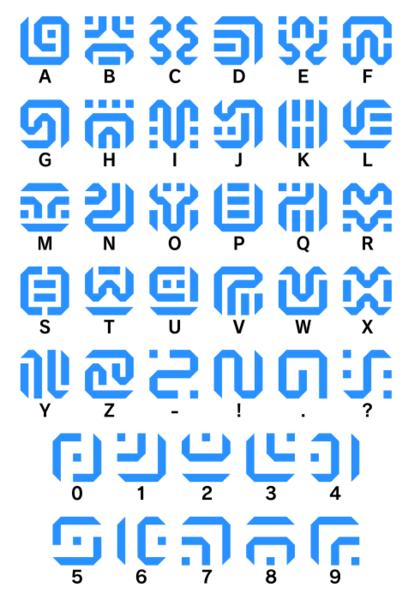 希卡文字 - 英文字母数字符号 对应关系