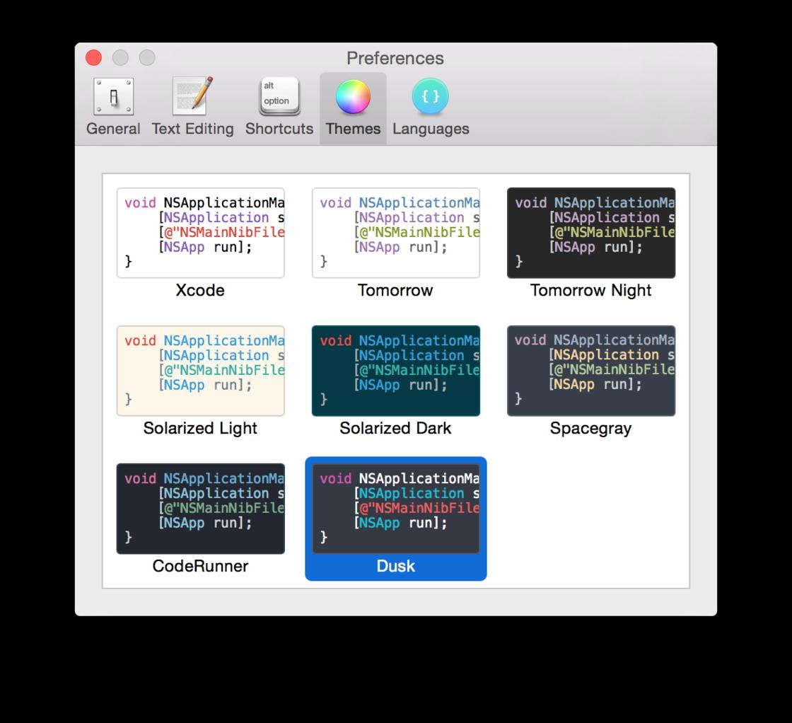 SnippetsLab支持8种配色