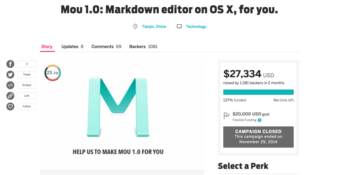 Mou 1.0  Markdown editor on OS X  for you.   Indiegogo.png