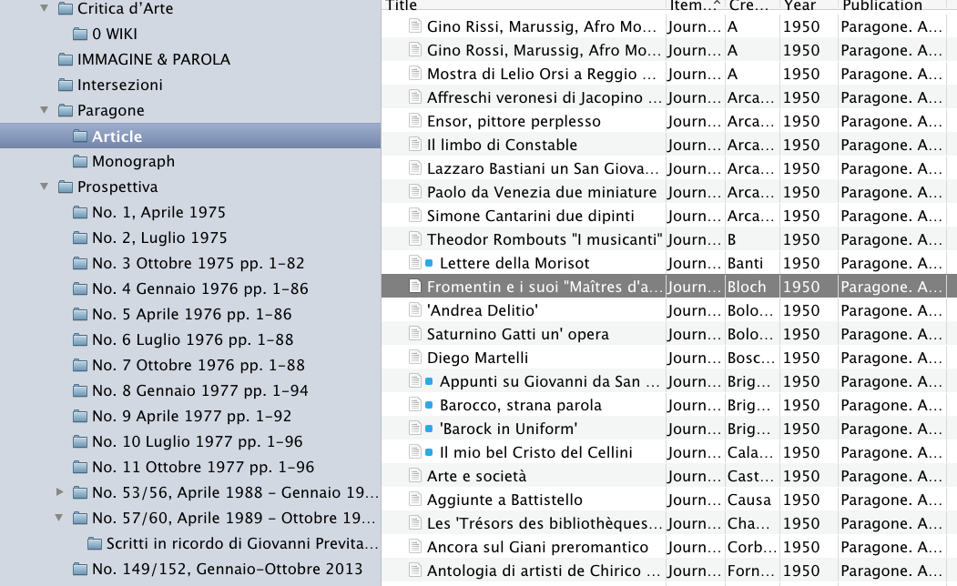 Paragone Arte 从1950年到2020年共发了2811篇论文,正因为可以从Kubikat导入所有发表的文献,我才可以借此来研究Roberto Longhi的一些论文的上下文环境。