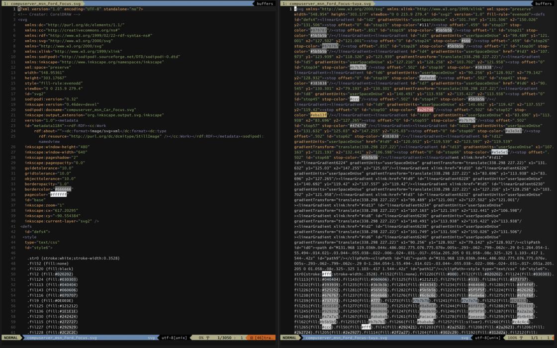 压缩前和压缩后的 SVG 文件内容