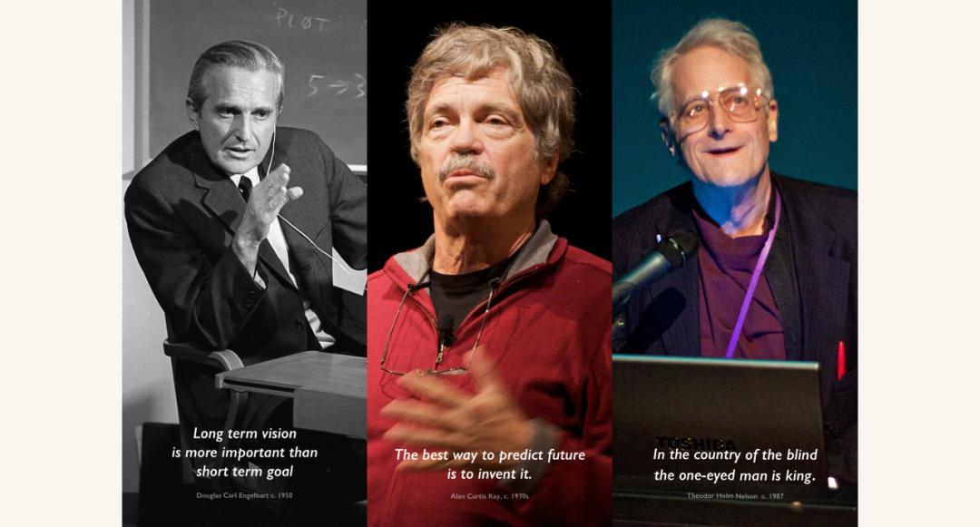 左→右:Doug Engelbart → Alan Kay → Ted Nelson