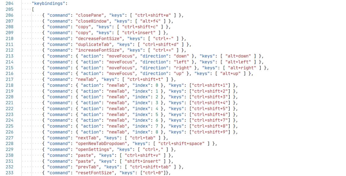 Windows Terminal 默认快捷键绑定