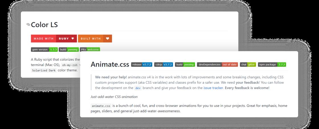 经常出现在 GitHub 项目里面的小牌子