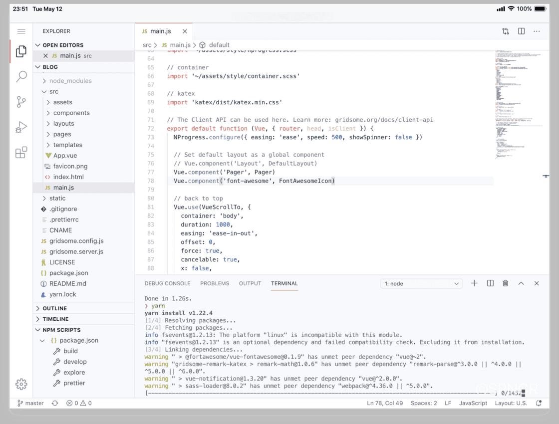 直接在 iPad 上用 Safari 打开在线版 VS Code