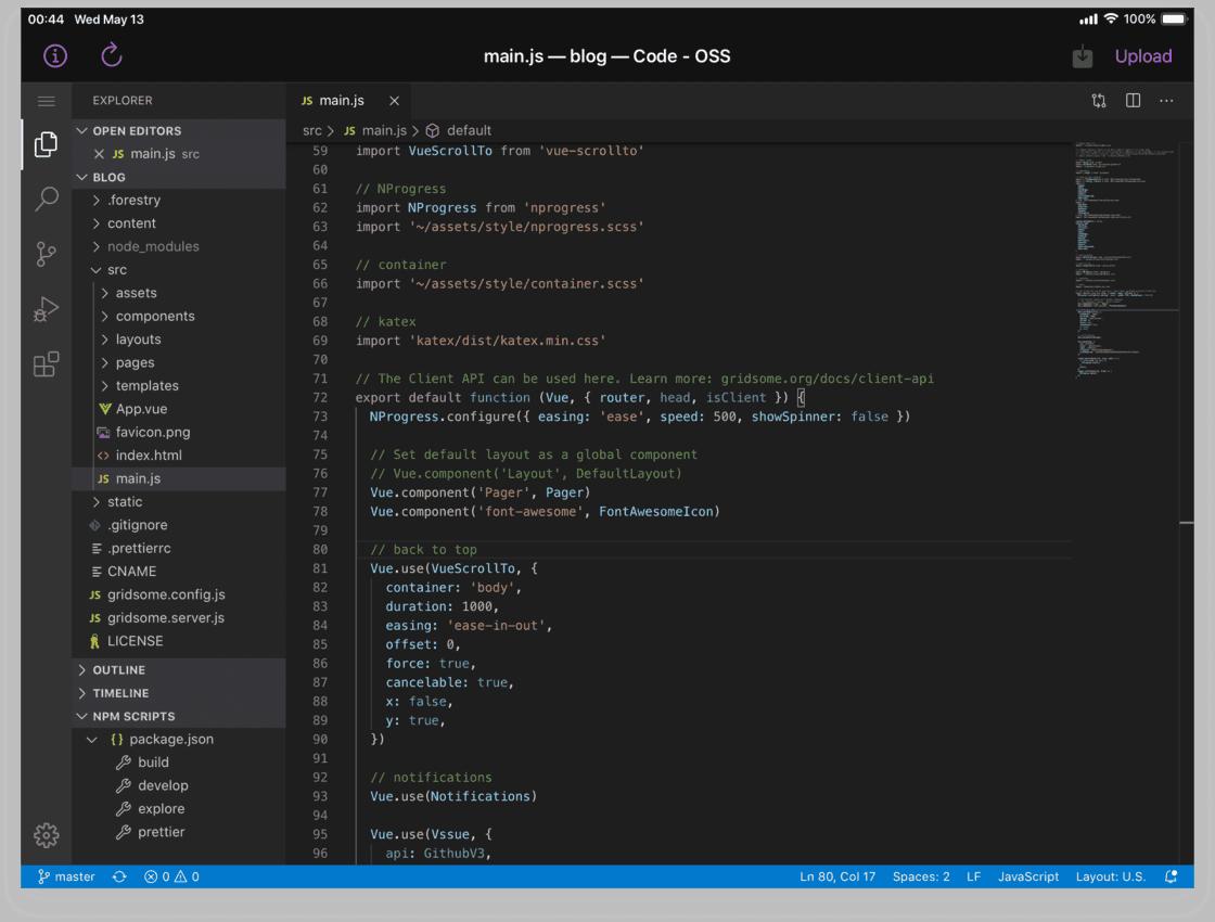 在 VSApp 中加载的我们自己部署的在线版 VS Code