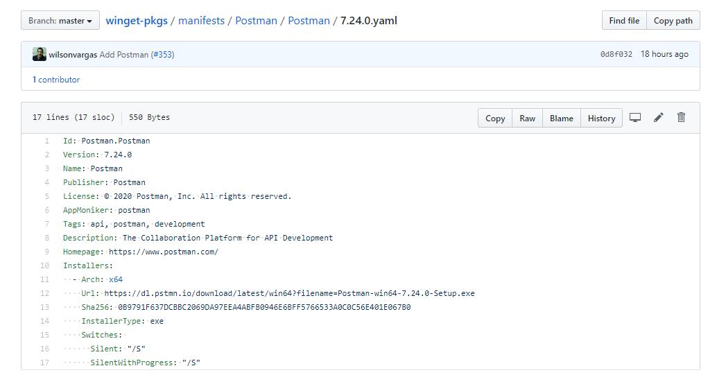 GitHub 上面 Postman 的软件 Manifest 文件