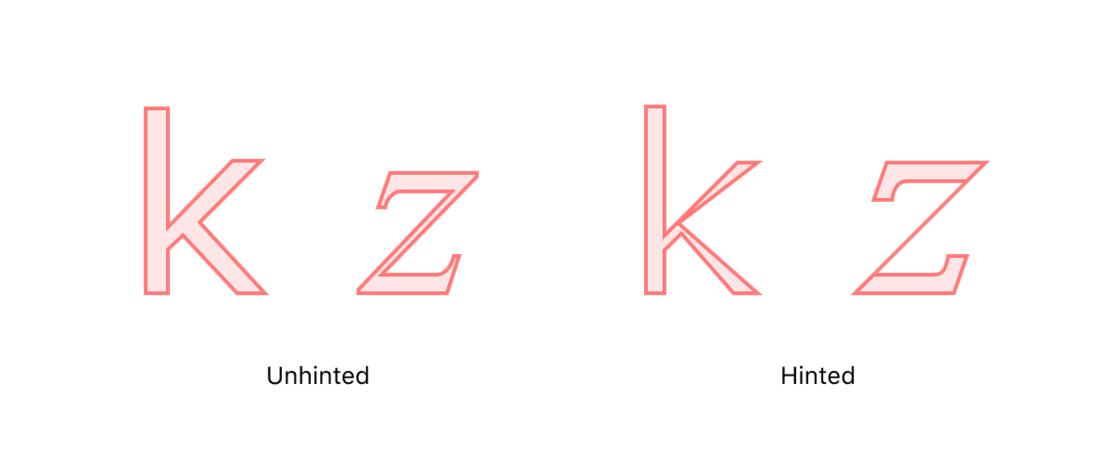 Verdana(k) 和 Times New Roman(z) 在 13px 大小栅格化之前的渲染效果