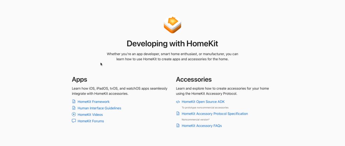 Apple 开发者网站中列出的多个 HomeKit 相关的板块