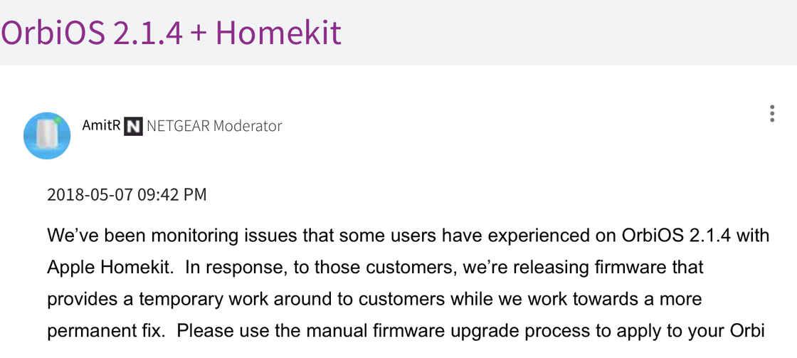 网件 Orbi 路由器曾因为 mDNS 优化算法不佳导致 HomeKit 问题,不得不推出紧急更新|Orbi 社区论坛