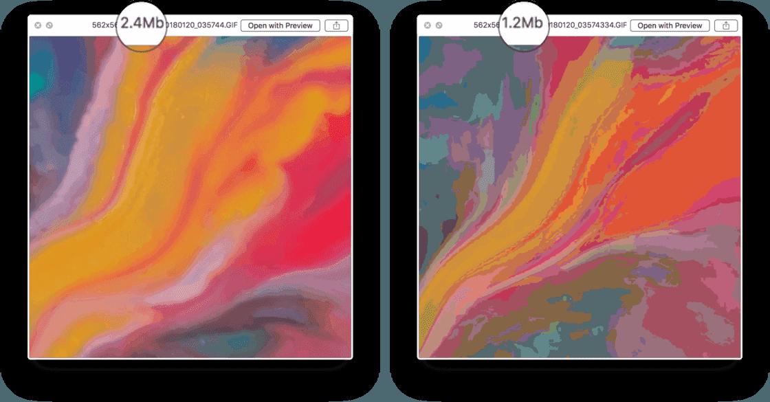 通过减少颜色可以显著缩小 GIF 体积
