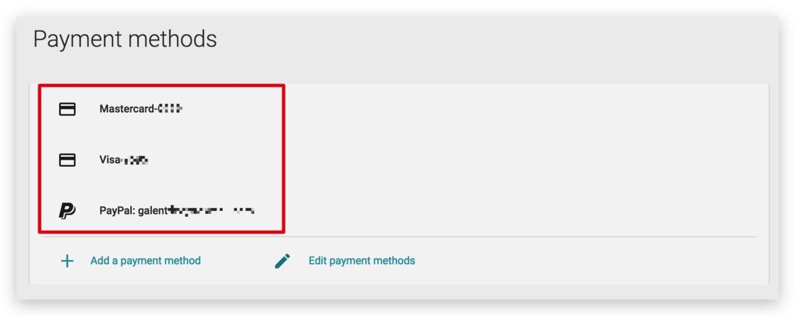 被接受的支付方式