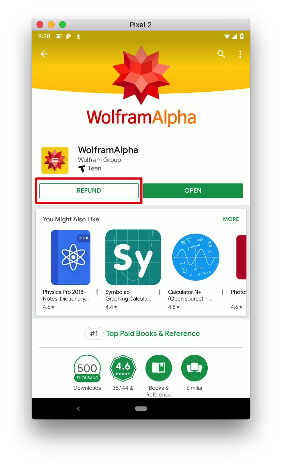购买 App 时提示的退款按钮